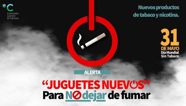 """imagen de ALERTA. """"JUGUETES NUEVOS"""" Para NO dejar de fumar."""
