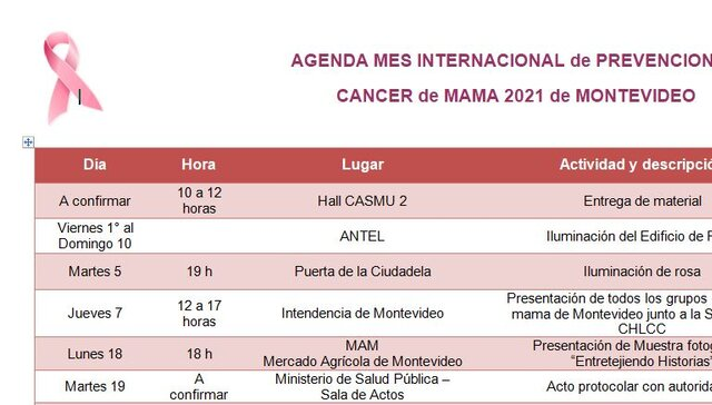 imagen de AGENDA MES INTERNACIONAL de PREVENCION de CANCER de MAMA